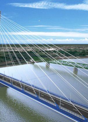 Nový cestný most medzi miestami Komárom - Komárno