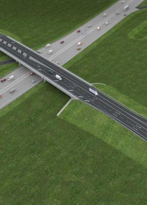 Diaľnica D1 Senec - Blatné, križovatka Blatné - most nad diaľnicou