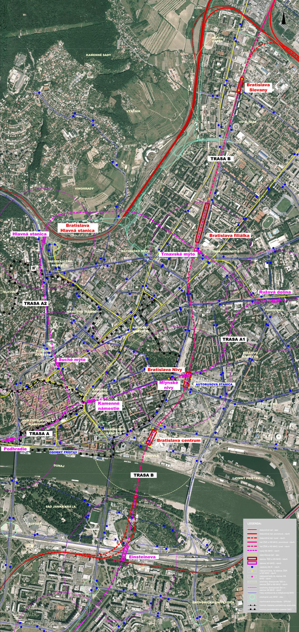 Dopravno-urbanistická štúdia prepojenia železničných koridorov v Bratislave.